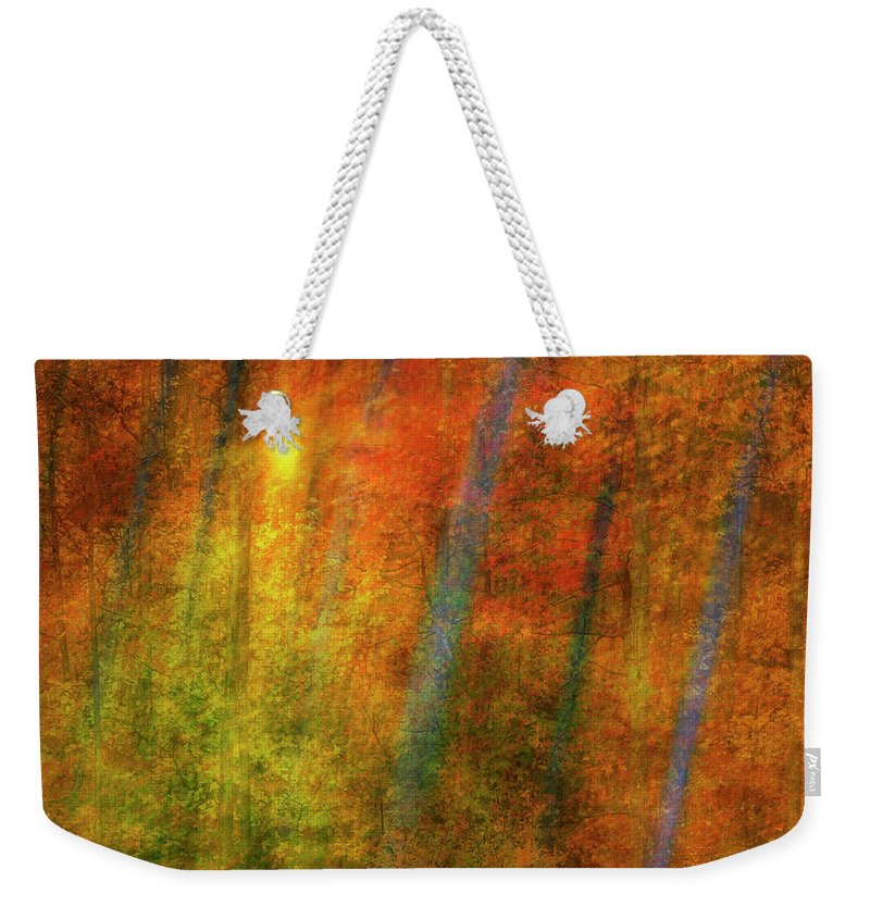 Woods Weekender Tote Bag featuring the digital art Autumn Woods by Guy Crittenden