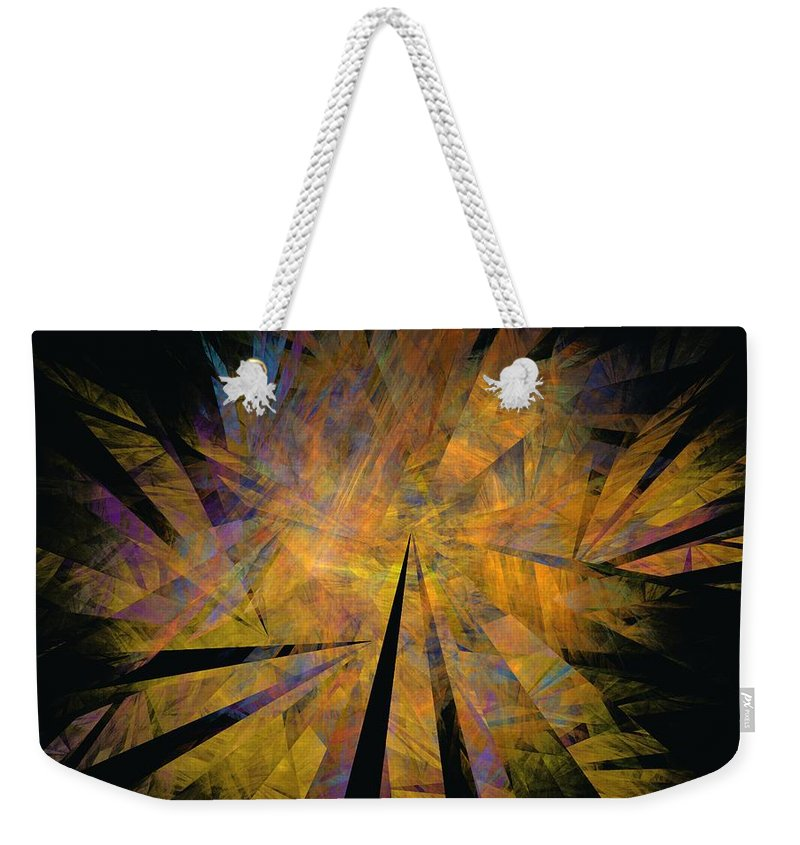 Abstract Expressionism Weekender Tote Bag featuring the digital art Autumnal by David Lane
