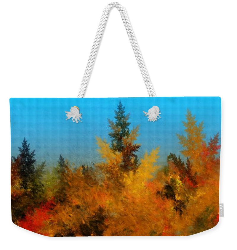 Abstract Digital Painting Weekender Tote Bag featuring the digital art Autumnal Forest by David Lane