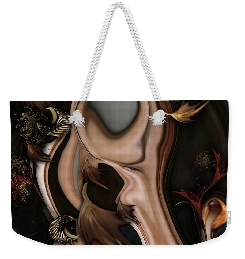 Autumnal Weekender Tote Bag featuring the digital art Autumnal Material by Carmen Fine Art