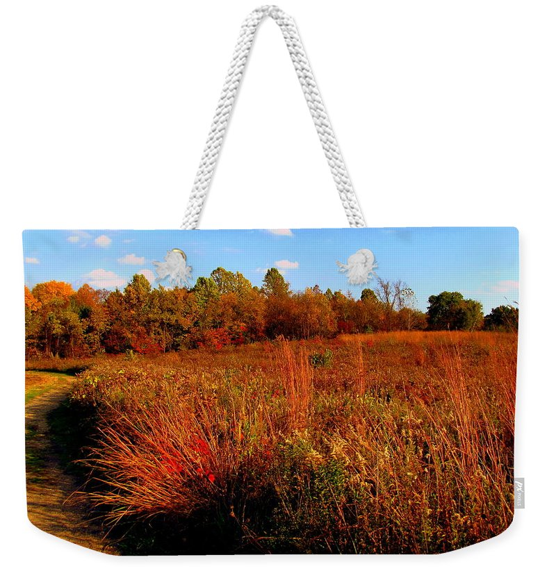 Autumn Weekender Tote Bag featuring the painting Autumns Field by Scott Heaton