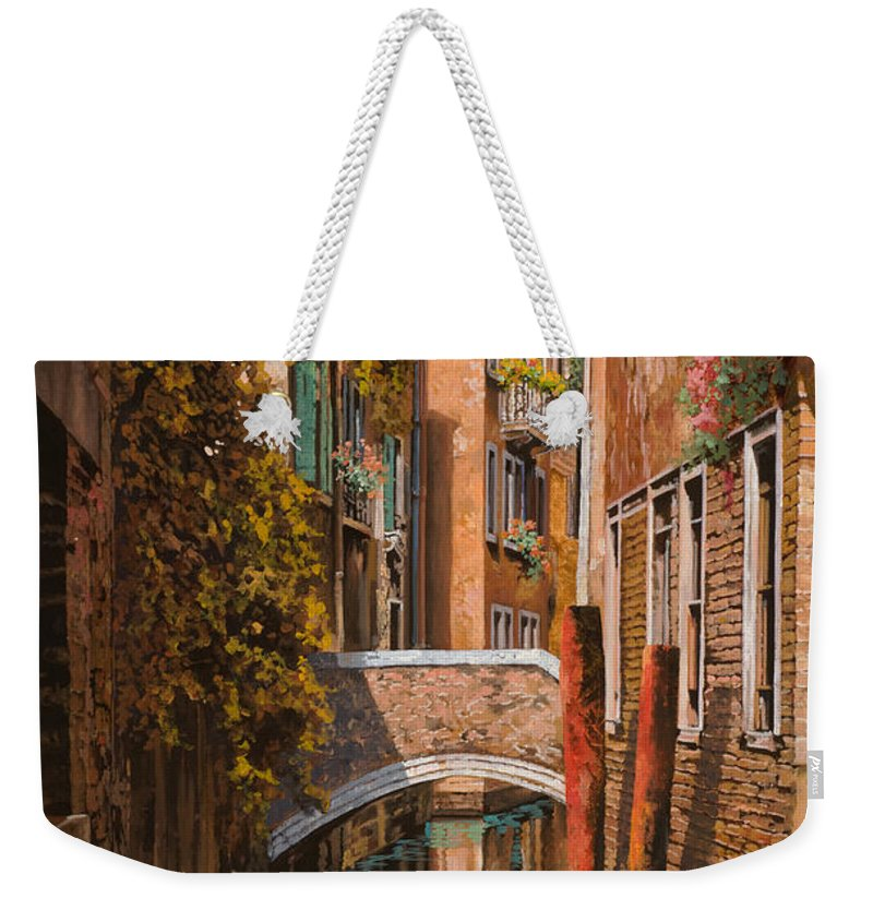Venice Weekender Tote Bag featuring the painting autunno a Venezia by Guido Borelli