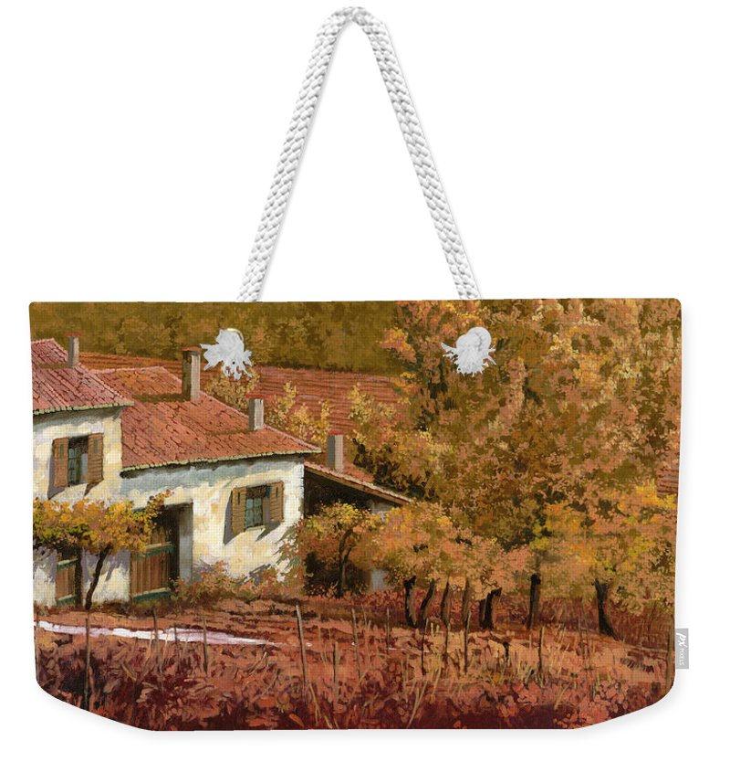 Autumn Weekender Tote Bag featuring the painting Autunno Rosso by Guido Borelli