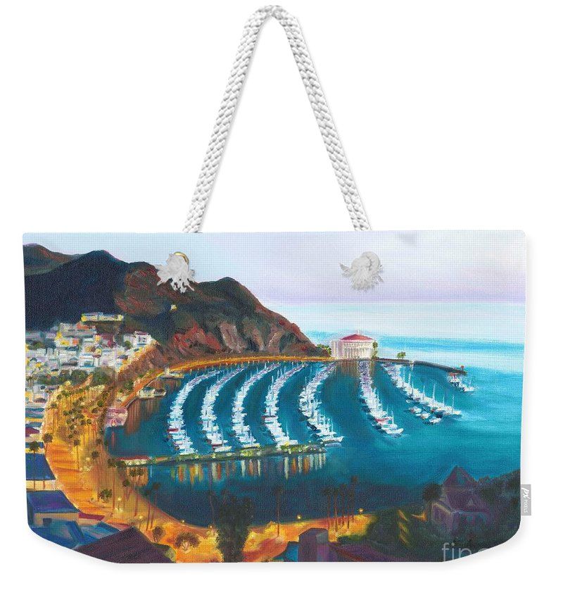 Avalon Weekender Tote Bag featuring the painting Avalon At Sunrise by Nicolas Nomicos