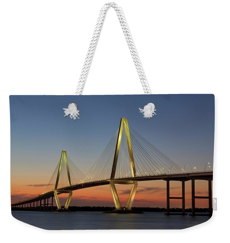South Carolina Weekender Tote Bag featuring the photograph Avenell Bridge Sunset by Nancy Dunivin