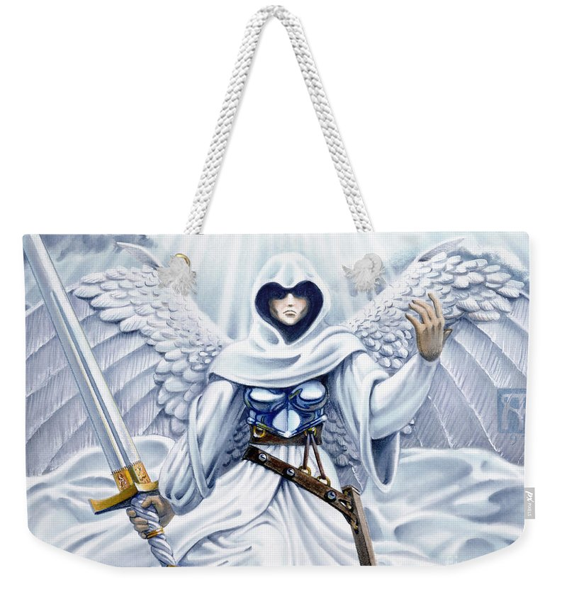Angel Weekender Tote Bag featuring the painting Avenging Angel by Melissa A Benson
