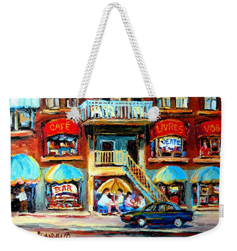 Cafes Weekender Tote Bag featuring the painting Avenue Du Parc Cafes by Carole Spandau