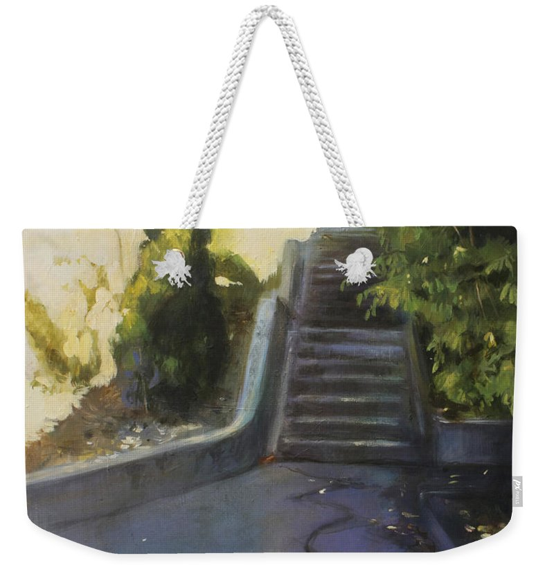 Lin Petershagen Weekender Tote Bag featuring the painting Avenue Gravier - The Shortcut by Lin Petershagen