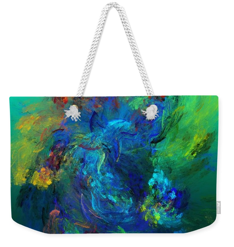 Fine Art Digital Art Weekender Tote Bag featuring the digital art Avian Dreams - Pardise by David Lane