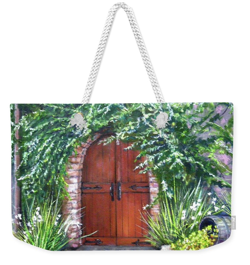 Door Curved Archway Weekender Tote Bag featuring the painting Avignon by Olga Kaczmar