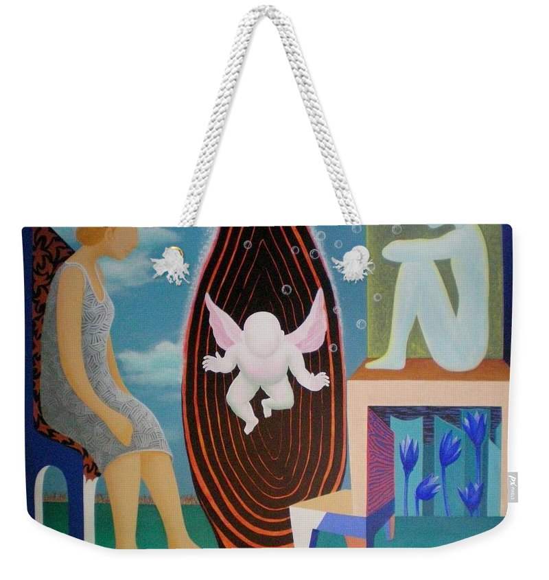 Figurative Weekender Tote Bag featuring the painting Await by Raju Bose