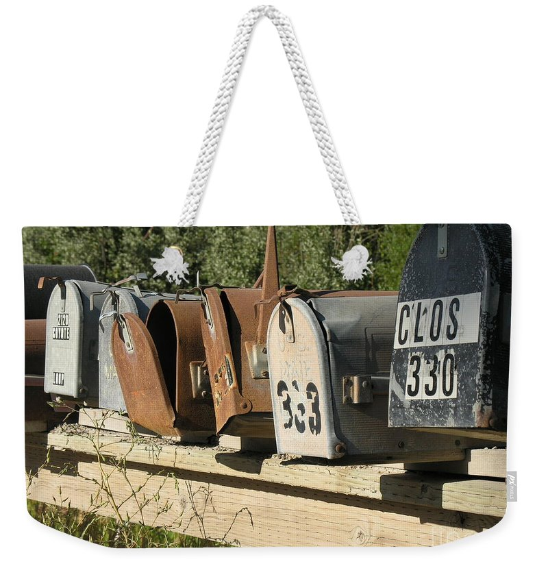 Mailboxes Weekender Tote Bag featuring the photograph Awaiting Mail by Diane Greco-Lesser
