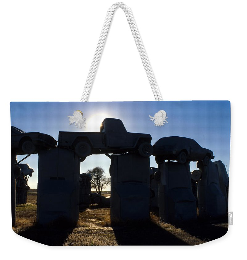 Car Henge Weekender Tote Bag featuring the photograph Awaiting The Aliens by Jerry McElroy