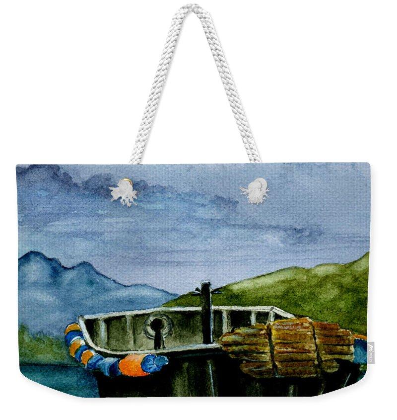 Watercolor Weekender Tote Bag featuring the painting Awaiting The Season by Brenda Owen