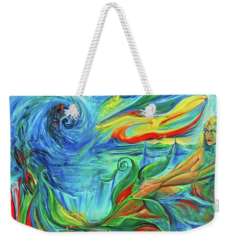 Mermaid Weekender Tote Bag featuring the painting Awaken The Eagle by Jennifer Christenson