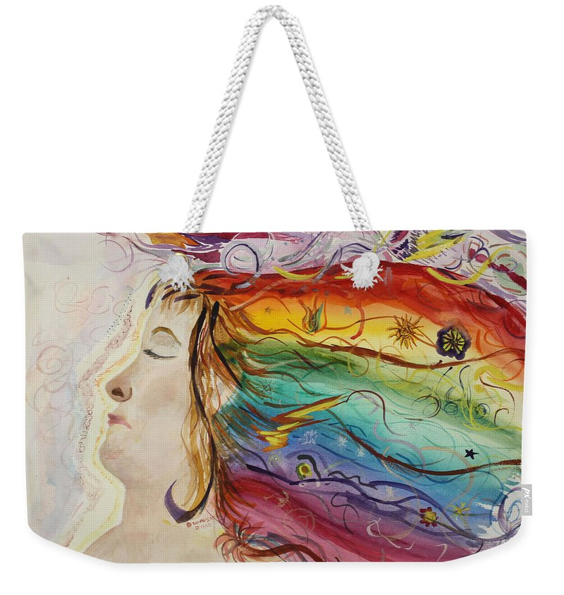 Rainbow. Profile Weekender Tote Bag featuring the painting Awakening Consciousness by Donna Walsh