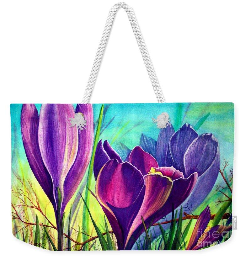 Awakening Weekender Tote Bag featuring the painting Awakening by Nancy Cupp