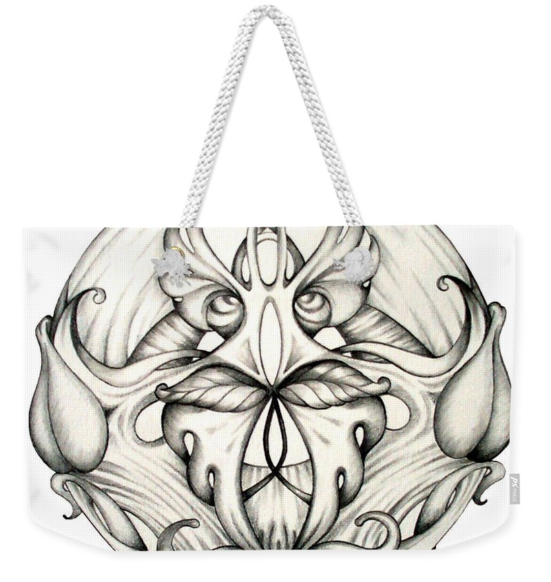 Mandala Weekender Tote Bag featuring the drawing Awakening by Shadia Derbyshire