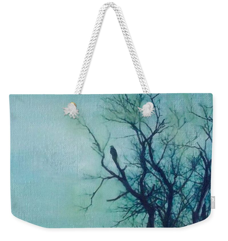 Gray Day Weekender Tote Bag featuring the painting Awating The Lions by Cara Frafjord
