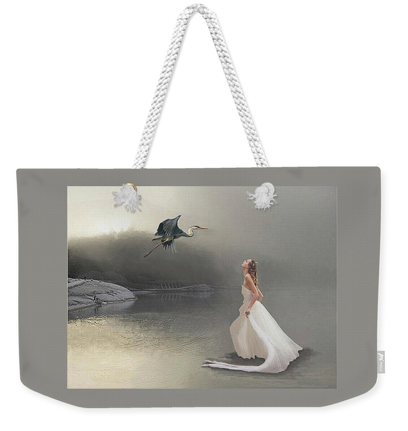 Great Blue Heron Weekender Tote Bag featuring the digital art Awe by Maureen Tillman