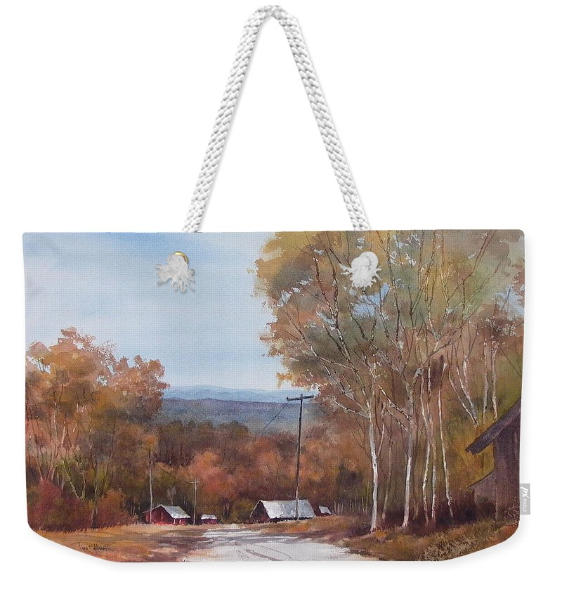 Landscape Weekender Tote Bag featuring the painting Awesome Autumn by Tina Bohlman