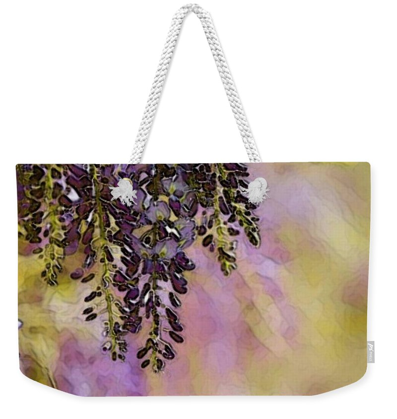 Wisteria Weekender Tote Bag featuring the digital art Awful Purdy by Ellen Cannon