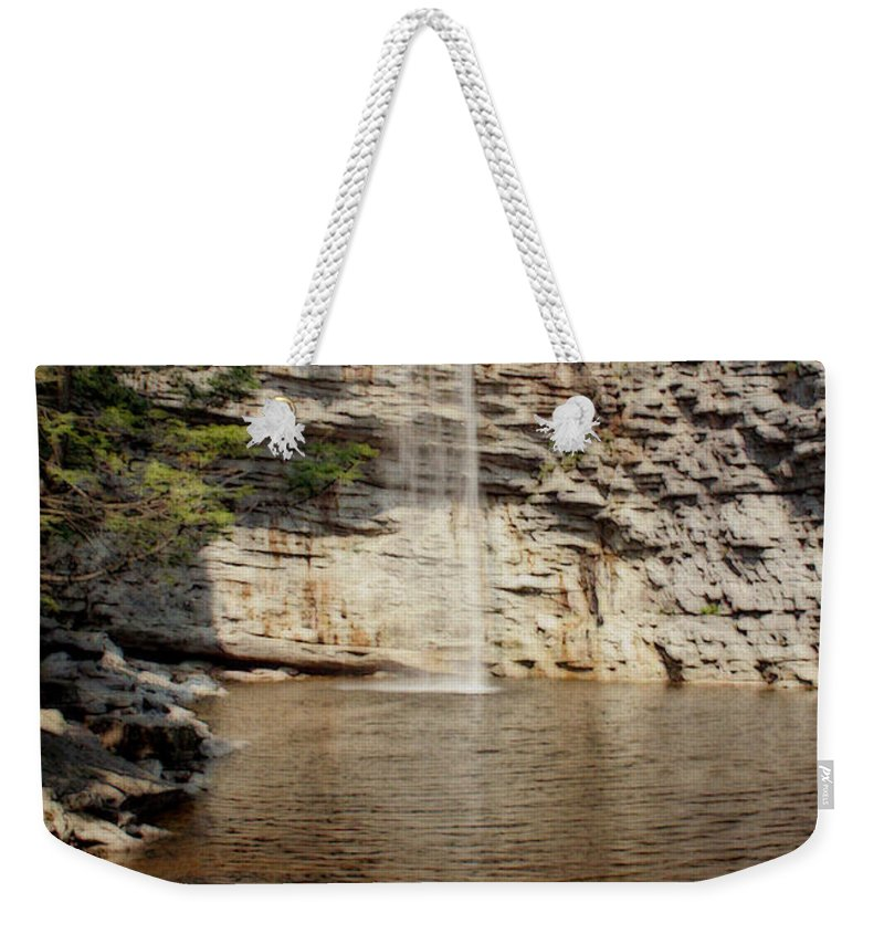 Nature Weekender Tote Bag featuring the photograph Awosting Falls by Linda Sannuti