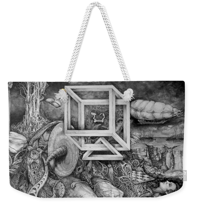 Drawing Weekender Tote Bag featuring the drawing Axis Mundi by Otto Rapp