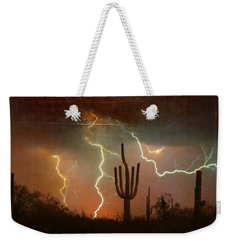 Arizona Weekender Tote Bag featuring the photograph Az Saguaro Lightning Storm by James BO Insogna
