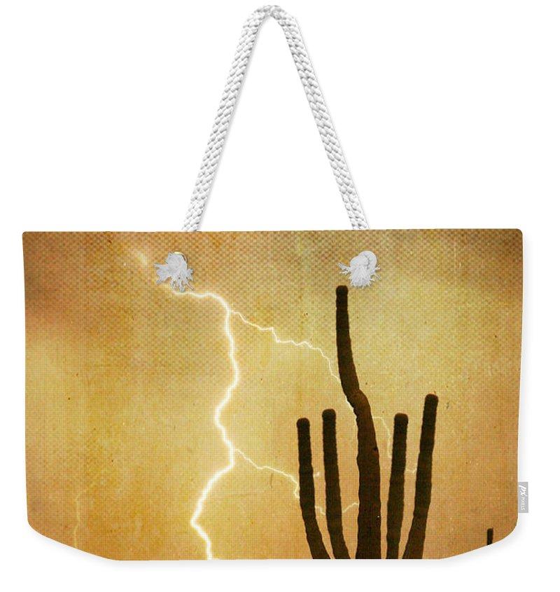 Arizona Weekender Tote Bag featuring the photograph Az Saguaro Lightning Storm V by James BO Insogna