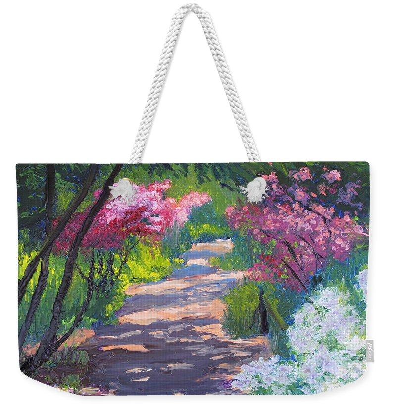 Garden Weekender Tote Bag featuring the painting Azalea Path - Sayen Gardens by Lea Novak