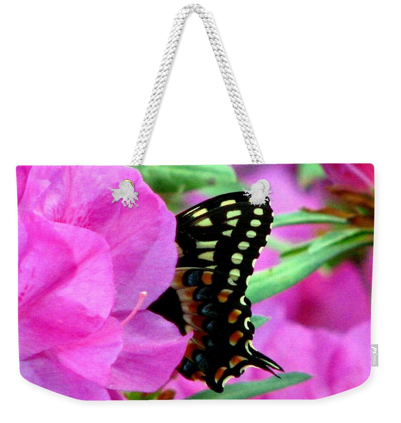 Azalea Weekender Tote Bag featuring the photograph Azalea With Butterfly by J M Farris Photography