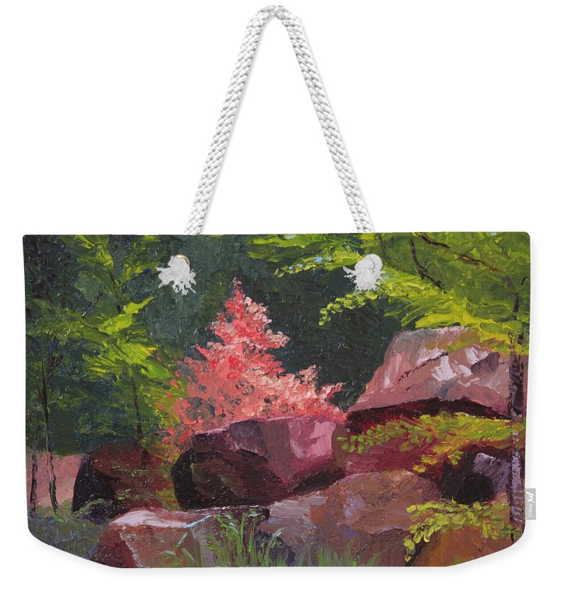 Azaleas Weekender Tote Bag featuring the painting Azaleas - Sun And Shadow by Lea Novak