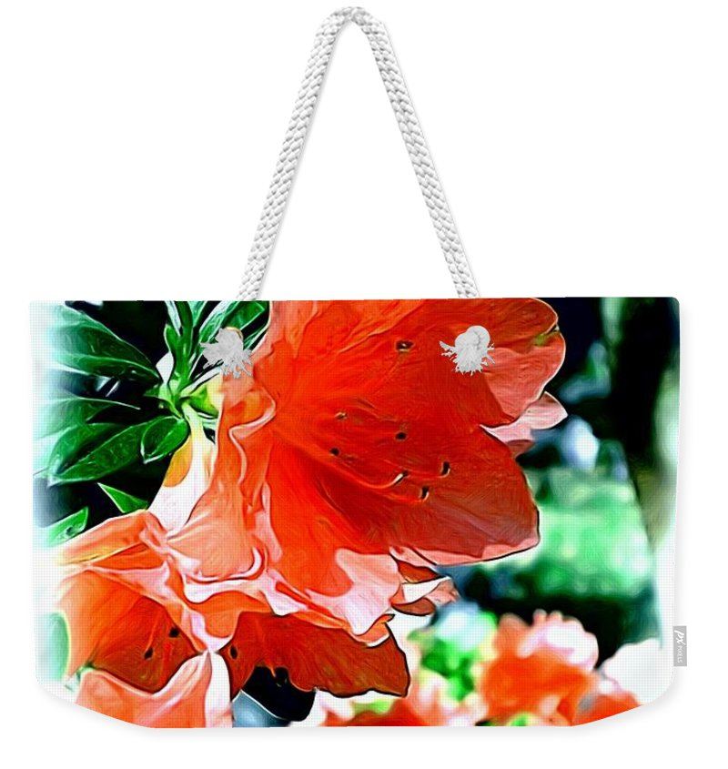 Fine Art Weekender Tote Bag featuring the painting Azaleas in the Spring by Patricia Griffin Brett