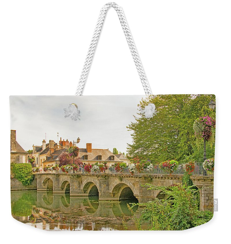 Azay Le Rideau Bridge Weekender Tote Bag featuring the photograph Azay Le Rideau Bridge, Boys Fishing by Curt Rush