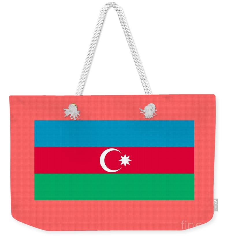Flag Weekender Tote Bag featuring the digital art Azerbaijan Flag by Frederick Holiday