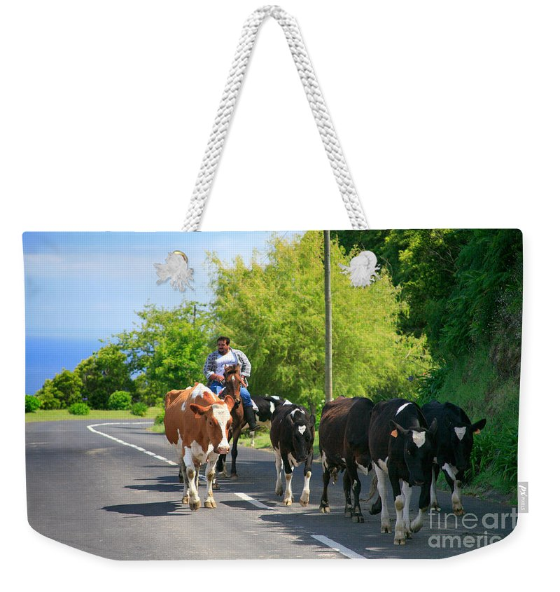 Agriculture Weekender Tote Bag featuring the photograph Azorean Farmer by Gaspar Avila