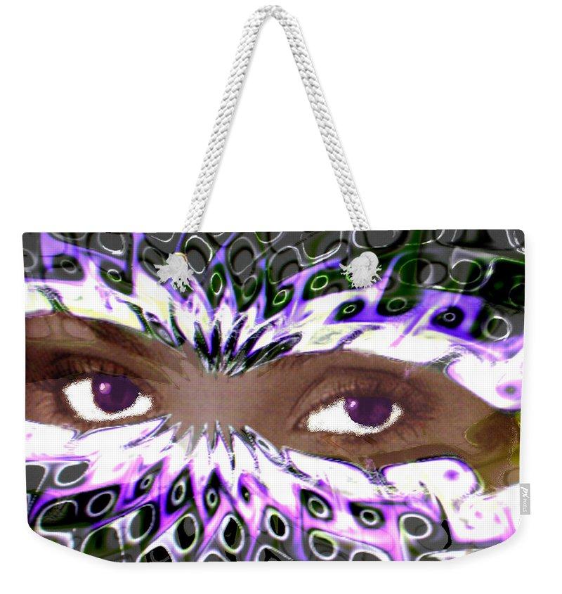 Aztec Weekender Tote Bag featuring the digital art Aztec Mask by Seth Weaver