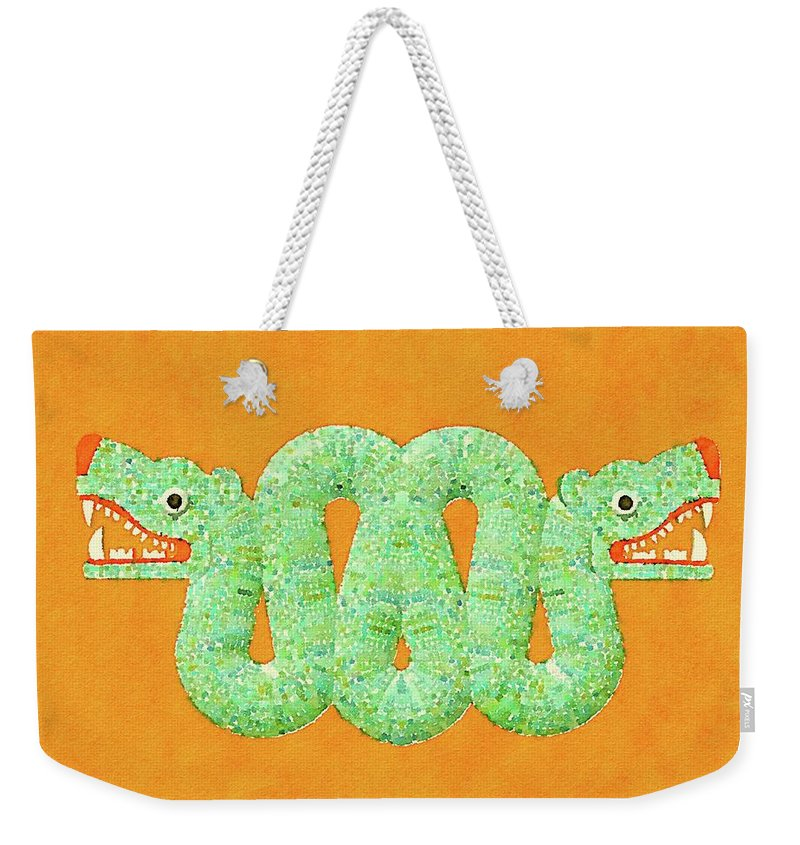 Aztec Weekender Tote Bag featuring the painting Aztec Serpent by Pierre Blanchard