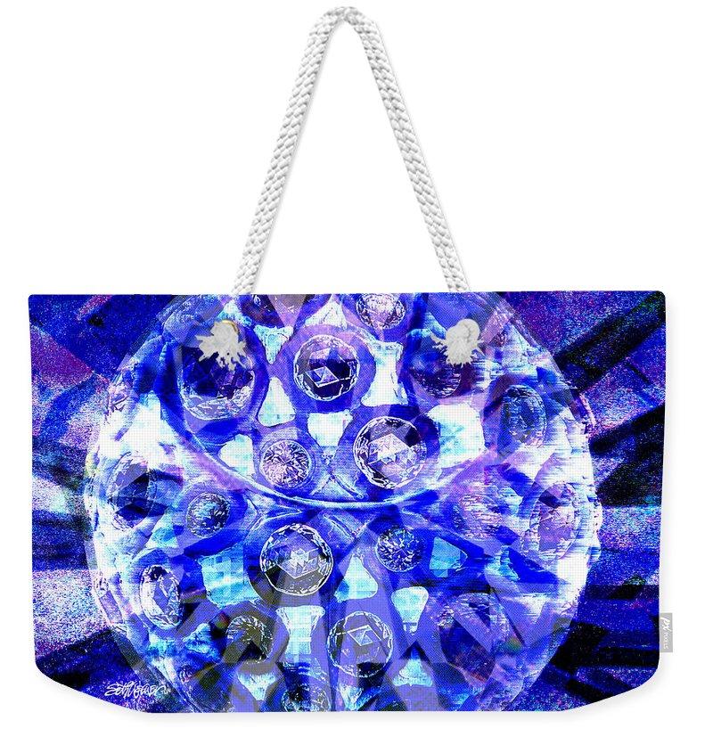 Abstract Weekender Tote Bag featuring the digital art Azure Orb Of Midas by Seth Weaver