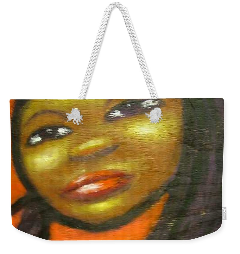 Lady In A Red Dress Weekender Tote Bag featuring the painting B by Jan Gilmore