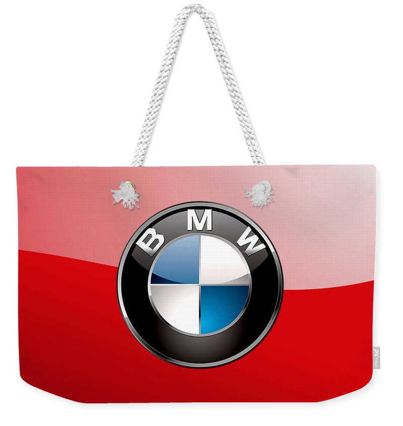 'auto Badges 3d' By Serge Averbukh Weekender Tote Bag featuring the photograph B M W Badge On Red by Serge Averbukh