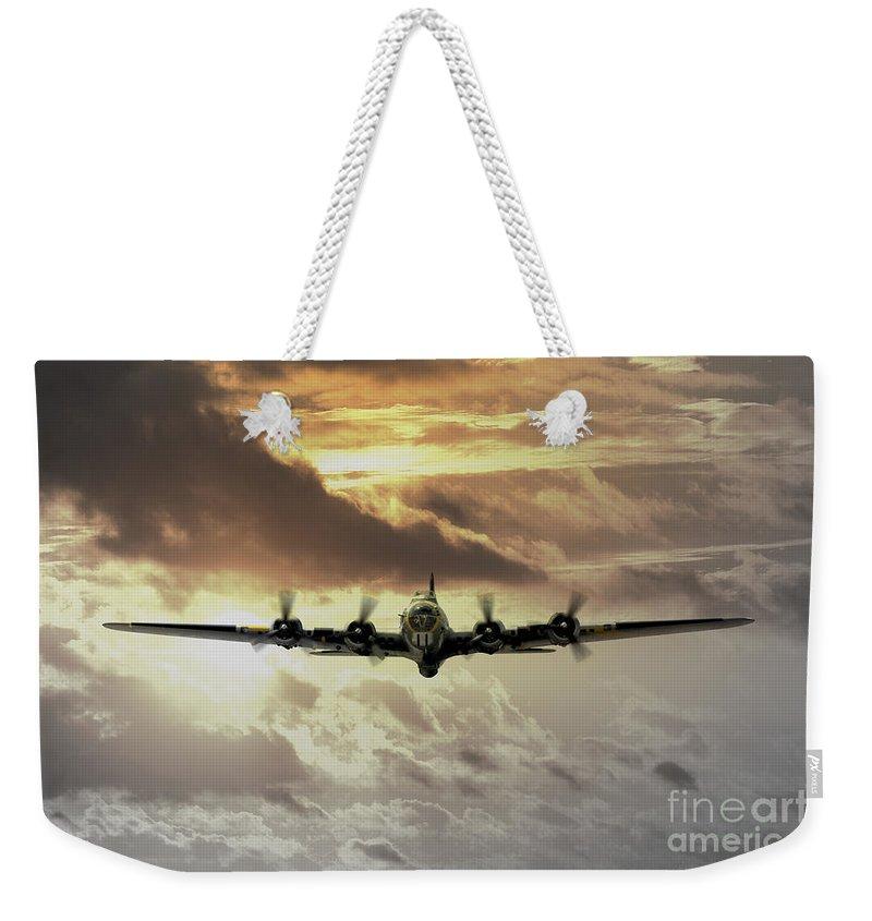 B17 Weekender Tote Bag featuring the digital art B17 Dawn by J Biggadike