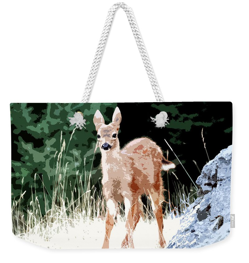Dear Weekender Tote Bag featuring the painting Babe In The Woods by David Lee Thompson