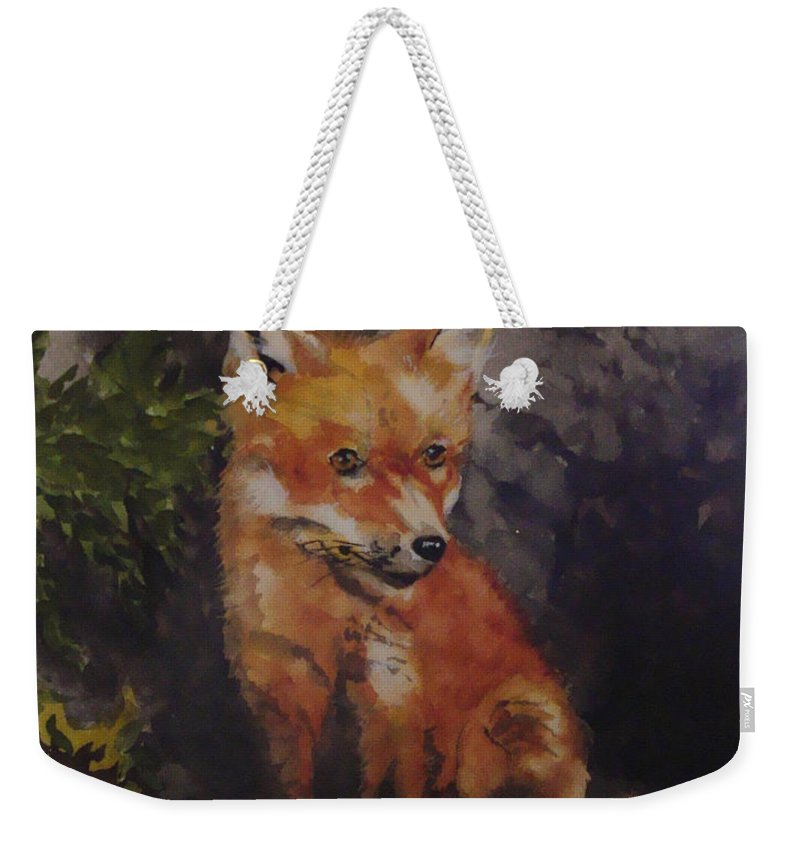Fox Weekender Tote Bag featuring the painting Babe In The Woods by Jean Blackmer