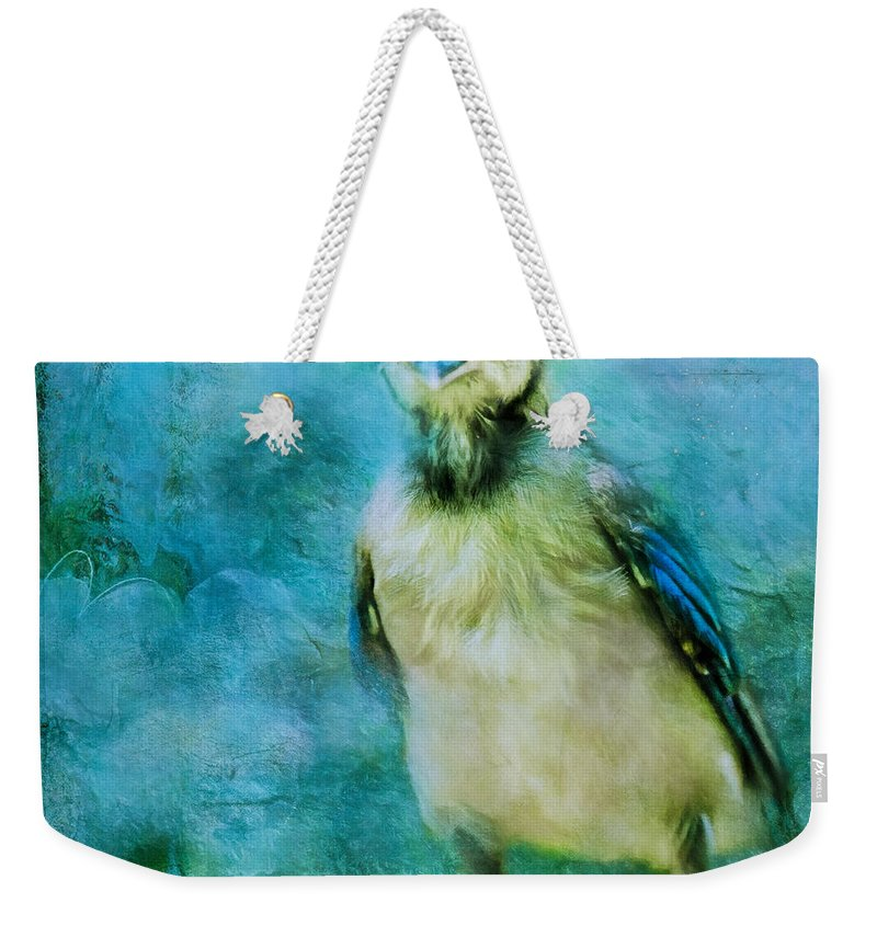 Bird Weekender Tote Bag featuring the photograph Baby Blue Jay by Anna Louise