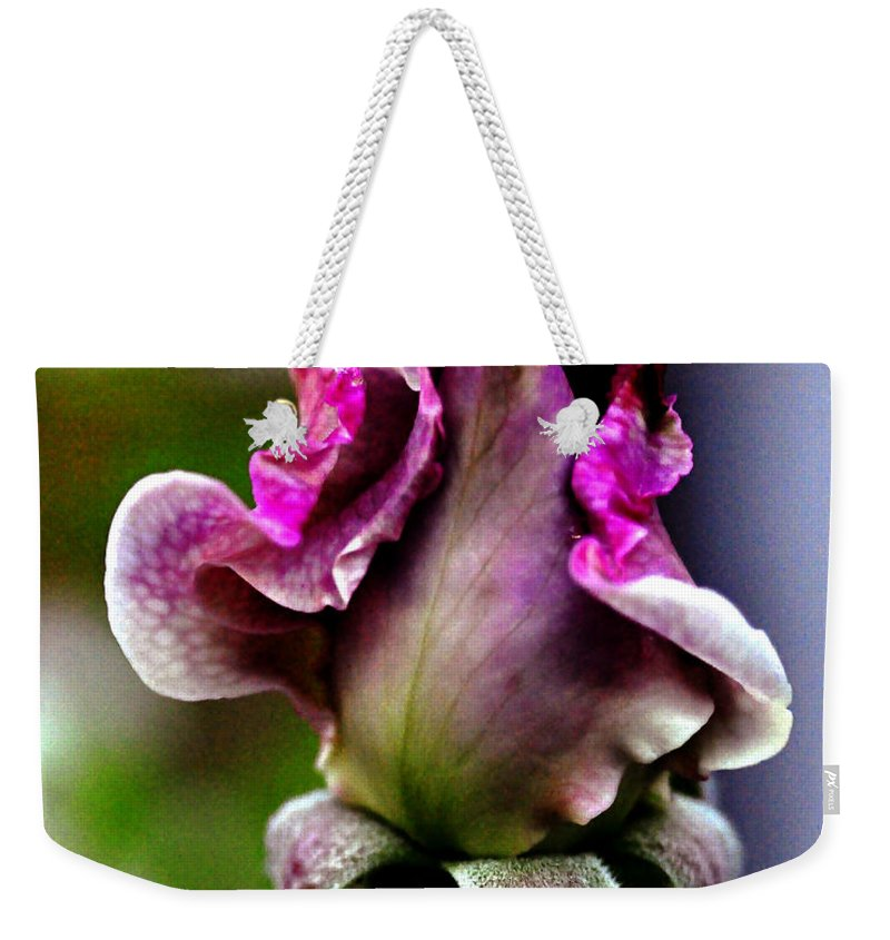 Clay Weekender Tote Bag featuring the photograph Baby Bud by Clayton Bruster