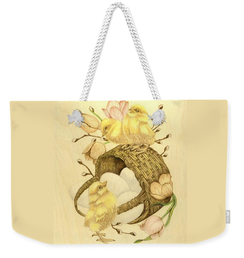 Chicks Weekender Tote Bag featuring the pyrography Baby Chicks by Danette Smith