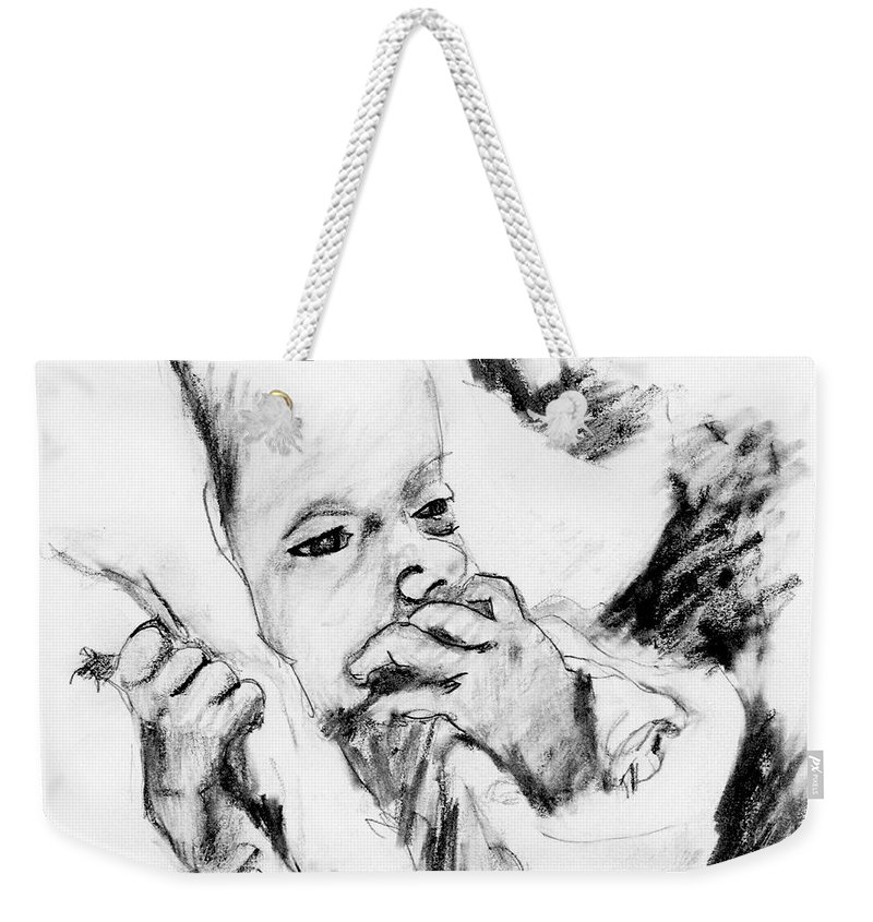 Pencil Sketch Weekender Tote Bag featuring the drawing Baby Concern by Ron Bissett