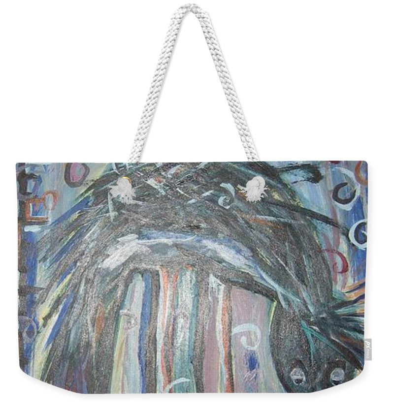 Crow Paintings Weekender Tote Bag featuring the painting Baby Crow11 by Seon-Jeong Kim